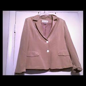 Jones New York Tan Pinstripe Silk Blazer, Size 10